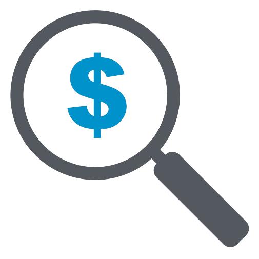 Иконка лупы с долларом